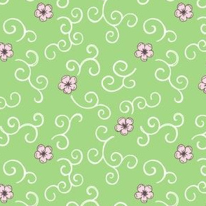 Cherry Blossoms and Swirls - green