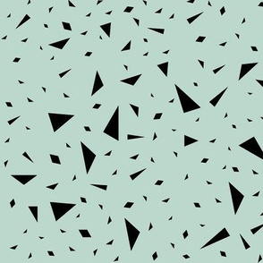 Scaterred triangles - black on mint || by sunny afternoon
