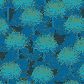 Cloisonné Chrysanthemums - Kingfisher Blue