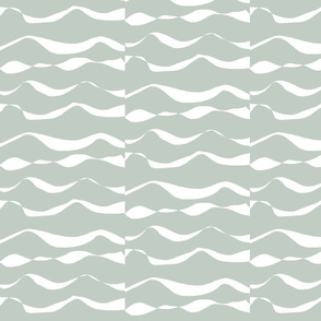 Waves XL white on light silver sage