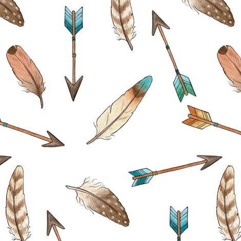 Scattered Feathers and  Arrows fabric by hazelfishercreations on Spoonflower - custom fabric