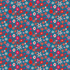 Red, ivory and pink wildflowers on blue