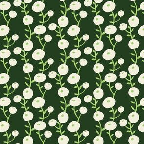 Ivory, white and light green flowers on dark green