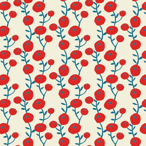 Red and blue flowers on ivory