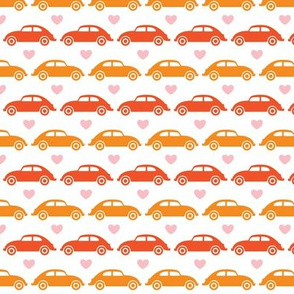 VW Beetle Love - Orange + Pink