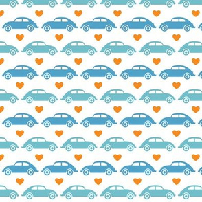 VW Beetle Love - Blue + Orange - Small
