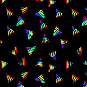 Rainbow-Striped Triangles on Black - Small