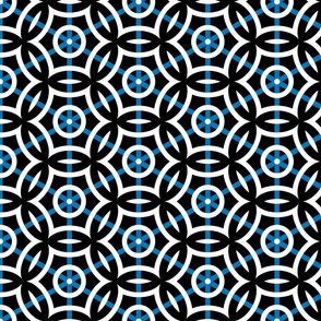 Geometric Circles with Blue Stripe