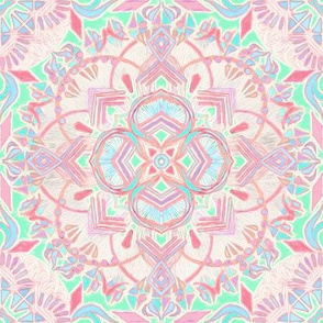 Mint and Blush Pink Painted Mandala Small Version