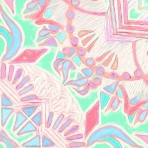 Mint and Blush Pink Painted Mandala Large Version