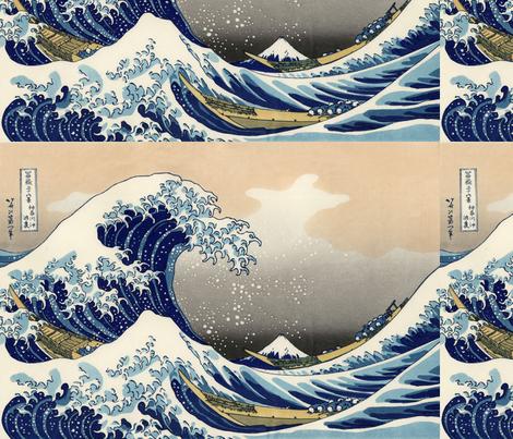 Great Wave off Kanagawa (18 x 12.2 in) fabric by studiofibonacci on Spoonflower - custom fabric