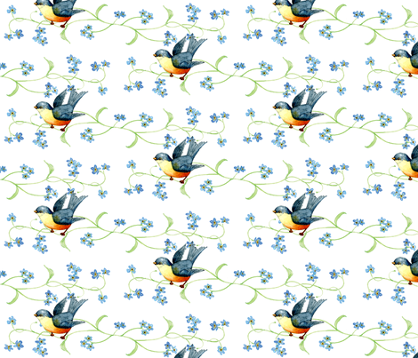 Blue Birds fabric by susanbranch on Spoonflower - custom fabric