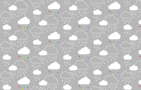 Clouds + Rain - White and Rainbow on Gray fabric by cavutoodesigns on Spoonflower - custom fabric