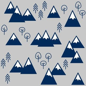 PNW - Mountains & Trees Navy on Gray