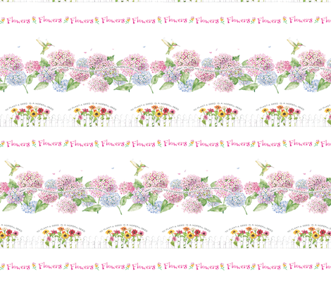 Flower Border fabric by susanbranch on Spoonflower - custom fabric