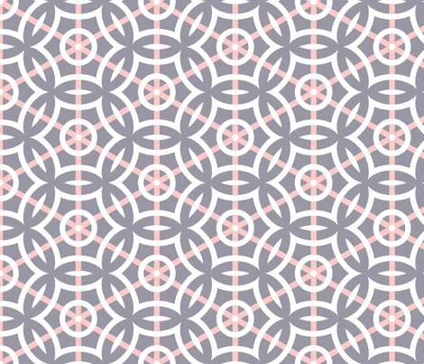 White Circle Geometric with Pink Stripes on Gray fabric by mariafaithgarcia on Spoonflower - custom fabric