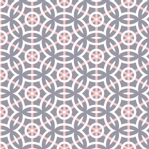 White Circle Geometric with Pink Stripes on Gray