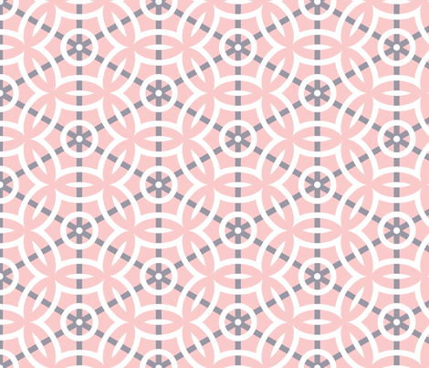 White Circle Geometric with Gray Lines on Pink fabric by mariafaithgarcia on Spoonflower - custom fabric