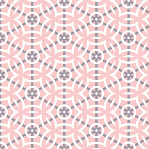 White Circle Geometric with Gray Lines on Pink