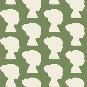 girl in silhouette green & cream