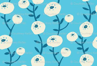 Cotton Flower Vines on Light Blue