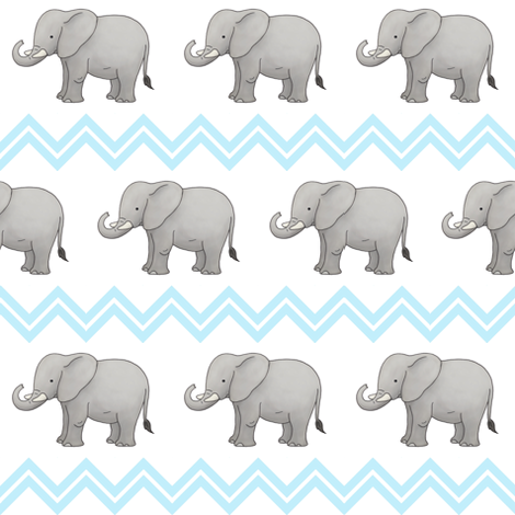 Baby Elephant with Blue Chevron fabric by hazel_fisher_creations on Spoonflower - custom fabric