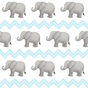 Baby Elephant with Blue Chevron