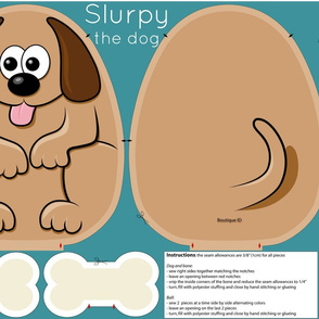 Cut and sew pillow - Slurpy the dog - 27x18