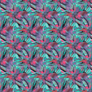Turquoise Flowers Small Repeat