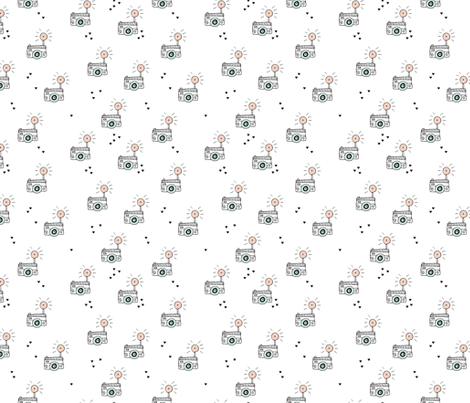 Cool photo camera vintage scandinavian style illustration design black and white pastels fabric by littlesmilemakers on Spoonflower - custom fabric