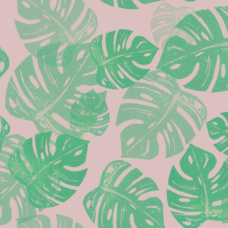 Linocut Monstera Rose fabric by biancagreen on Spoonflower - custom fabric