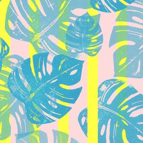 Linocut Monstera Stripes POP