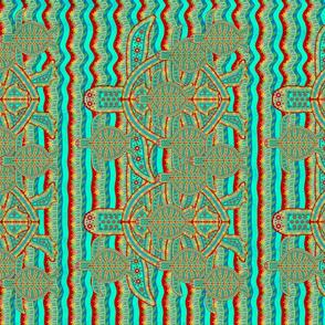 Sea Turtle Design Vertical Lines