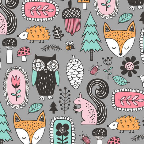 Fall Woodland Forest Doodle with Fox, Owl, Squirrel, Hedgehog,Trees, Mushrooms and Flowers on Grey fabric by caja_design on Spoonflower - custom fabric