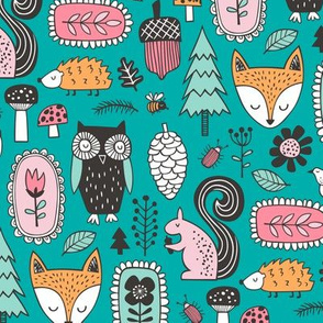 Fall Woodland Forest Doodle with Fox, Owl, Squirrel, Hedgehog,Trees, Mushrooms and Flowers