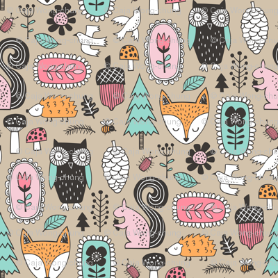 Fall Woodland Forest Doodle with Fox, Owl, Squirrel, Hedgehog,Trees, Mushrooms and Flowers on Almond