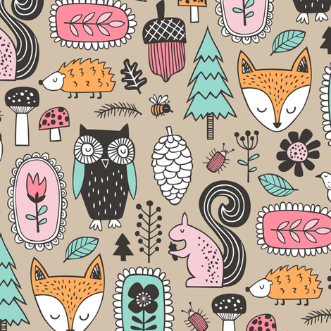 Fall Woodland Forest Doodle with Fox, Owl, Squirrel, Hedgehog,Trees, Mushrooms and Flowers on Almond fabric by caja_design on Spoonflower - custom fabric