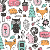 Fall Woodland Forest Doodle with Fox, Owl, Squirrel, Hedgehog,Trees, Mushrooms and Flowers on White