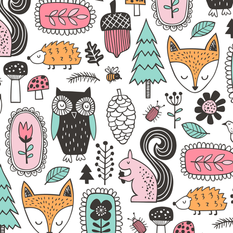 Fall Woodland Forest Doodle with Fox, Owl, Squirrel, Hedgehog,Trees, Mushrooms and Flowers on White fabric by caja_design on Spoonflower - custom fabric