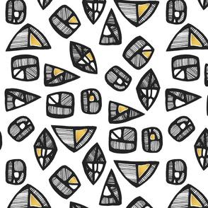 Geometric tribal black and gold pattern