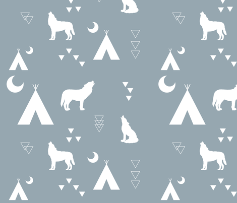 Night howler-grey fabric by buckwoodsdesignco on Spoonflower - custom fabric