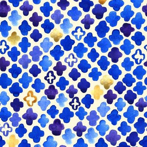 Rustic Watercolor Moroccan in Royal Blue & Gold