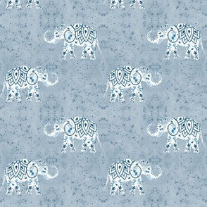 indien elephants in blue and white