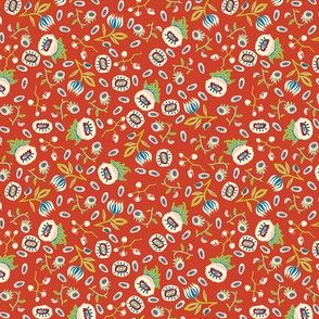 medieval mixed little flowers (small) on red