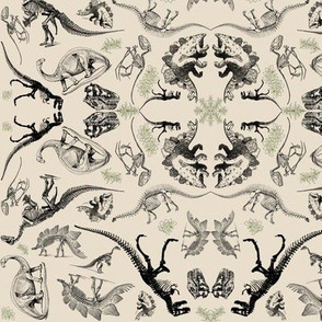 Dinosaur Kaleidoscope Toile on Cream
