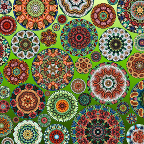 Flower Kaleidoscope Large Design Green Gradient