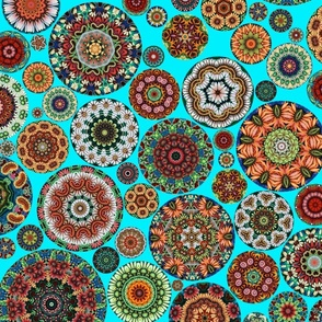 Flower Kaleidoscope Small Design Teal