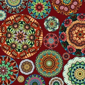 Flower Kaleidoscope Large Design Burgundy