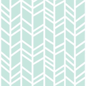 Crazy Herringbone - small scale -mint/Ivory - whistler village-