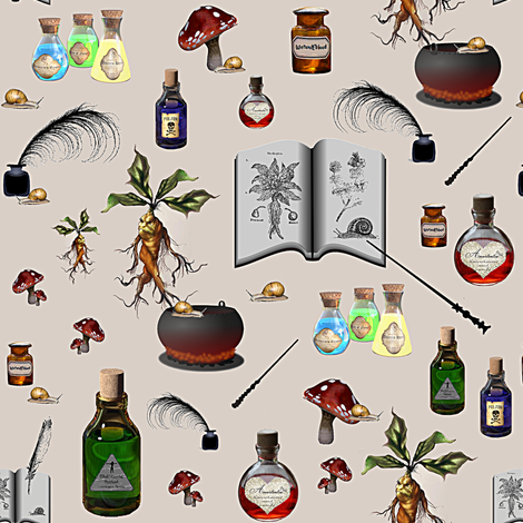 the poisonous - small - potter's world  fabric by stofftoy on Spoonflower - custom fabric